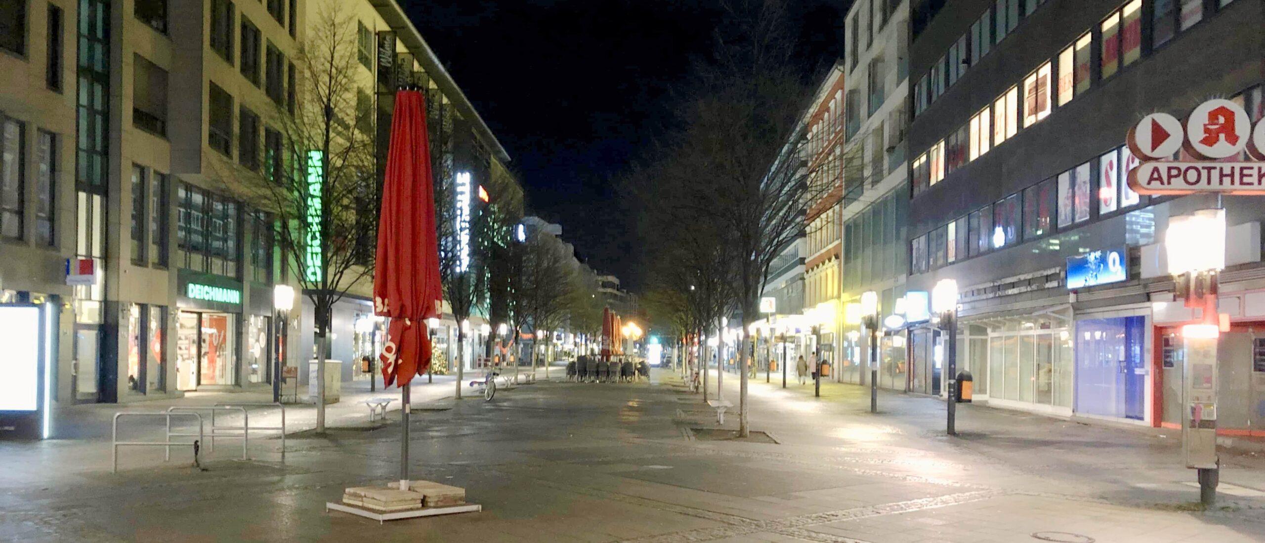 Wilmersdorfer Straße ohne Weihnachtsbeleuchtung am 29.12.20