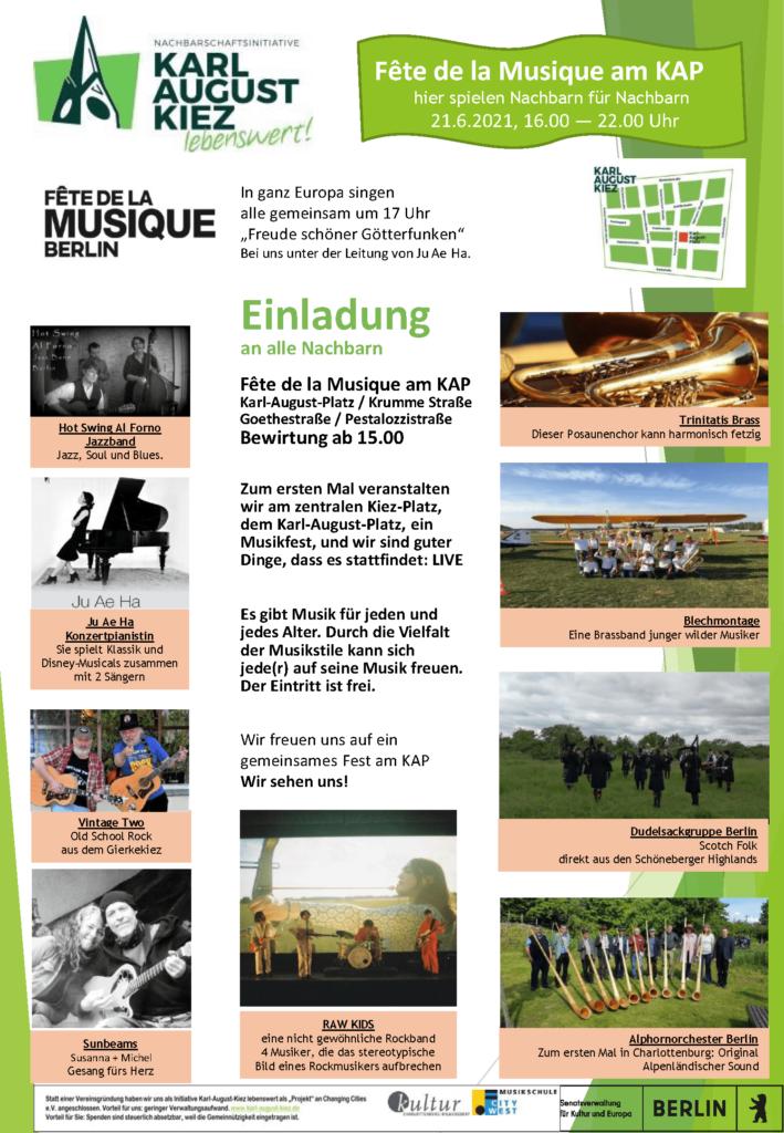 Terminplakat zur »Fête de la Musique« Berlin 2021 auf dem Karl-August-Platz.