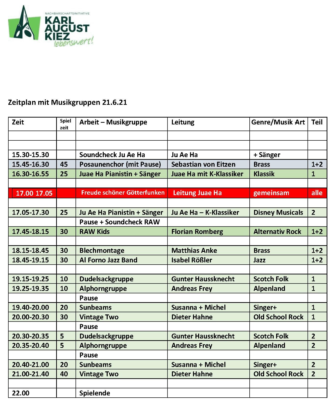 Time Table/Zeitplan »Fête de la Musique«, Berlin 2021